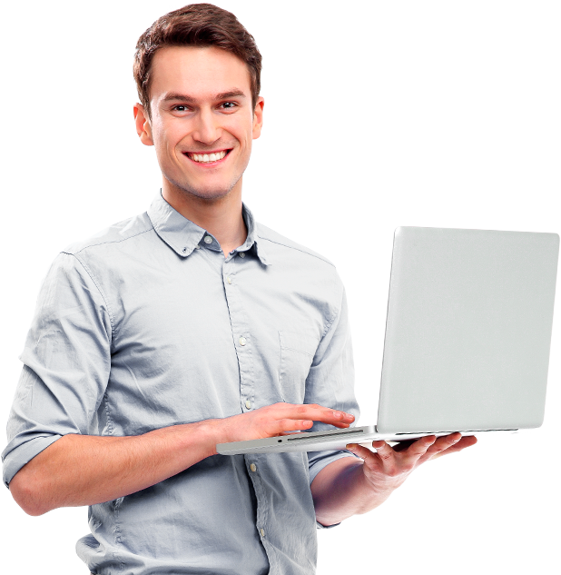 Homem segurando laptop